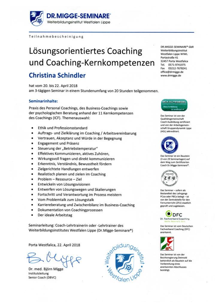 Zertifikat Lösungsorientiertes Coaching