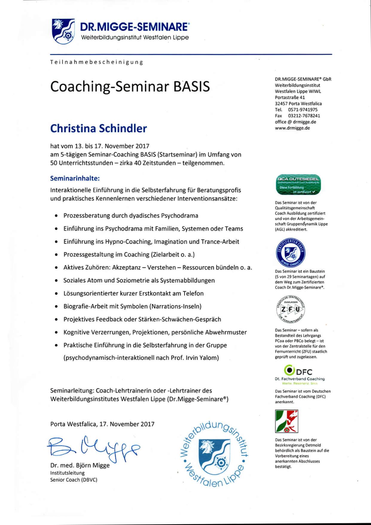 Zertifikat Coaching Basis
